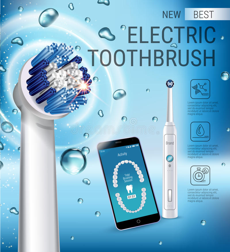 Electric toothbrush ads. Vector 3d Illustration with vibrant brush and mobile dental app on the screen of phone. Horizontal composition with high tech products royalty free illustration