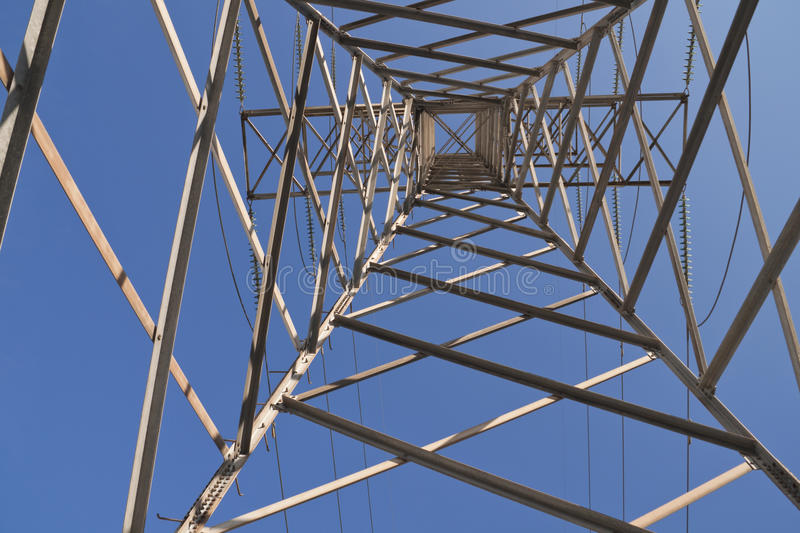 Electric tower from below stock photos