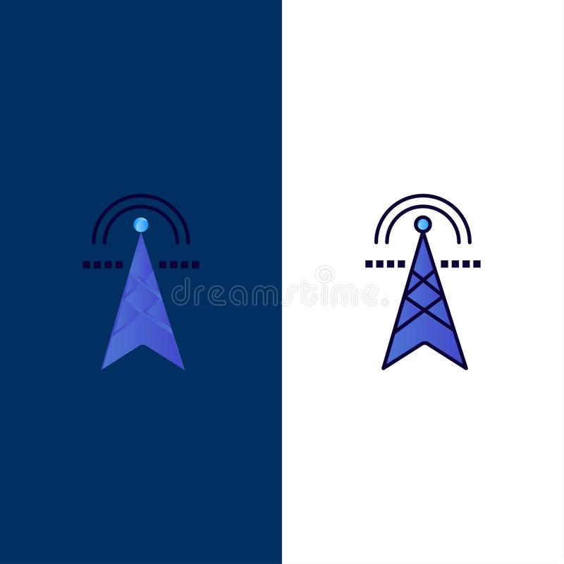 Electric Tower, Electricity, Power, Tower, Computing  Icons. Flat and Line Filled Icon Set Vector Blue Background stock illustration