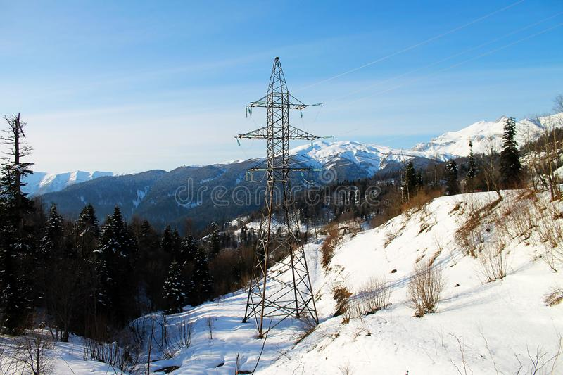 Electric tower in the mountains royalty free stock photography