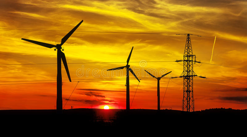 Wind Turbines At Sunset Stock Image Image Of Efficiency