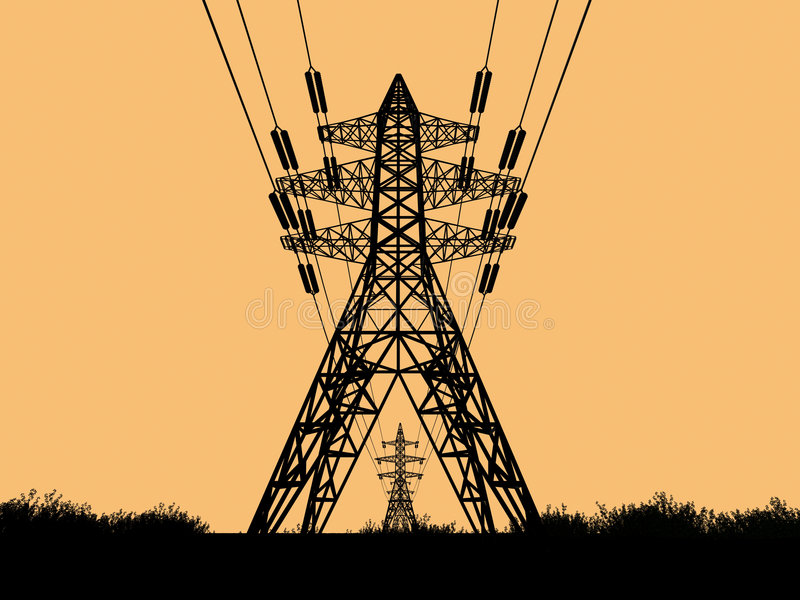 Electric Towers royalty free illustration
