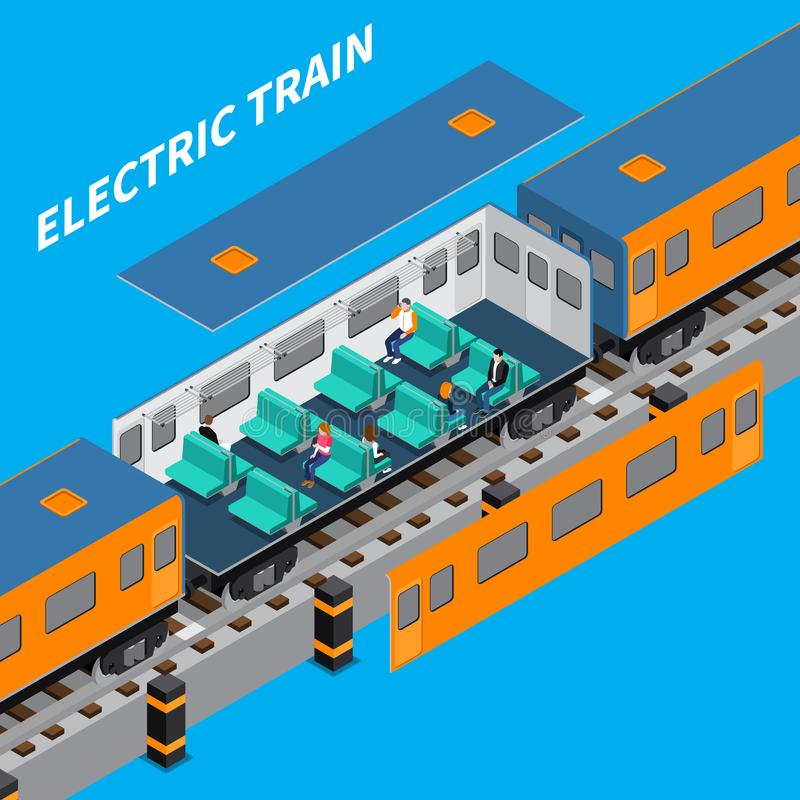 Electric Train Isometric Composition. Electric train constructor isometric composition of carriage interior with sitting passengers vector illustration vector illustration