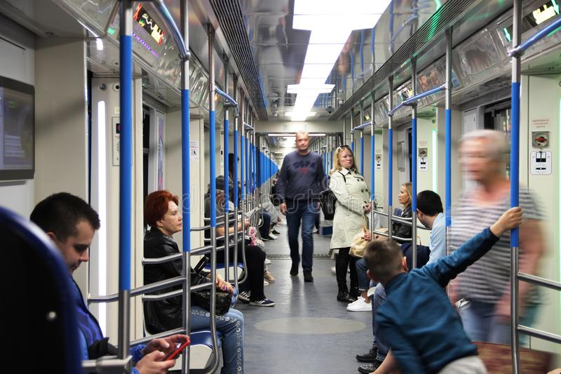 electric train Moscow. in the new car without partitions of the Moscow metro stock photos