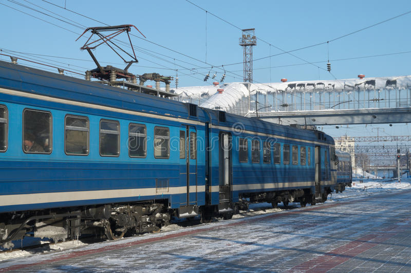 Electric train at the platform. The electric train at the platform in winter royalty free stock images