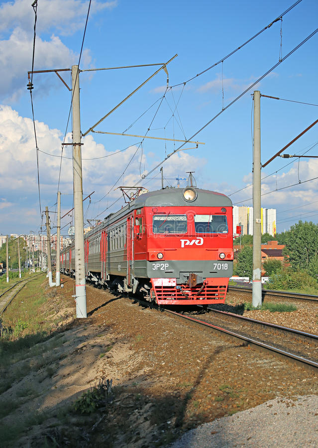 Electric train Russian Railways in Moscow stock photos