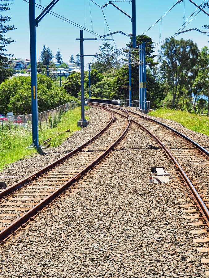 Electric Train Tracks, NSW Country Town, Australia royalty free stock photography