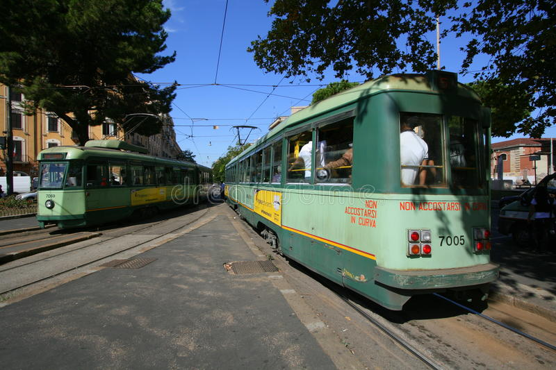 Electric tramcars in Rome stock image