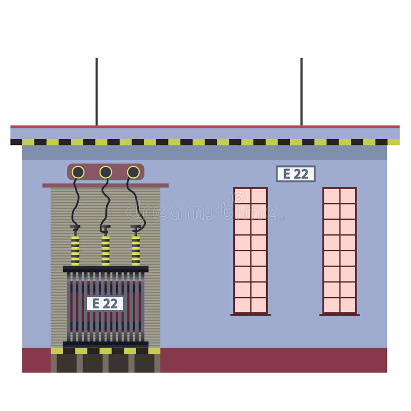 Electric transformer 2D building info graphic. High-voltage power station. royalty free illustration