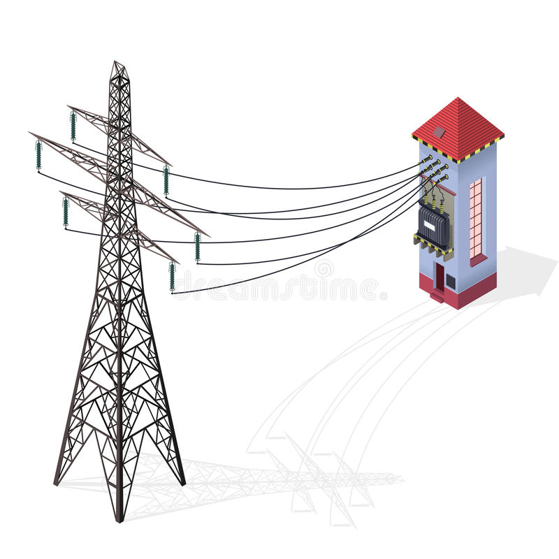 Electric transformer isometric building info graphic. High-voltage power station with electricity pylon. vector illustration