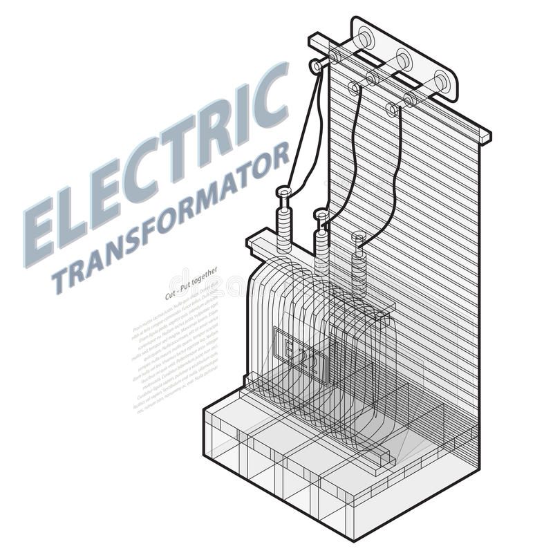 Electric transformer isometric building info graphic. High-voltage power station. stock illustration