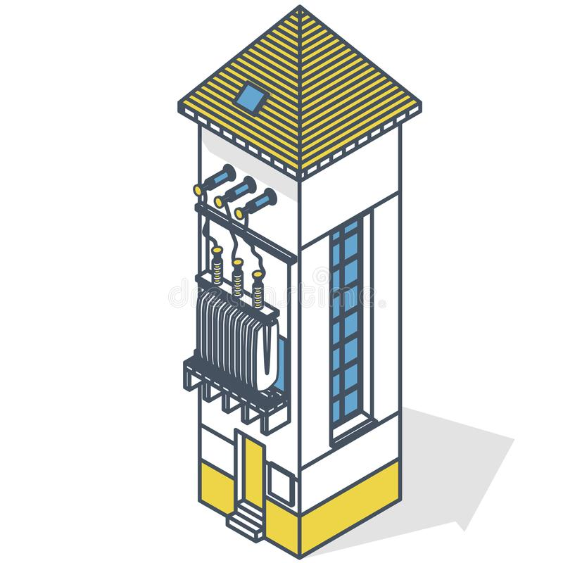 Outlined electric transformer isometric building info graphic. High-voltage power station royalty free illustration
