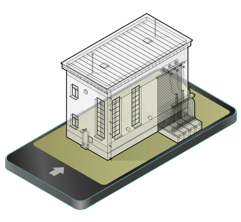 Electric transformer isometric building in mobile phone. Outlined 3d planning of vector high-voltage power station in communicatio royalty free illustration