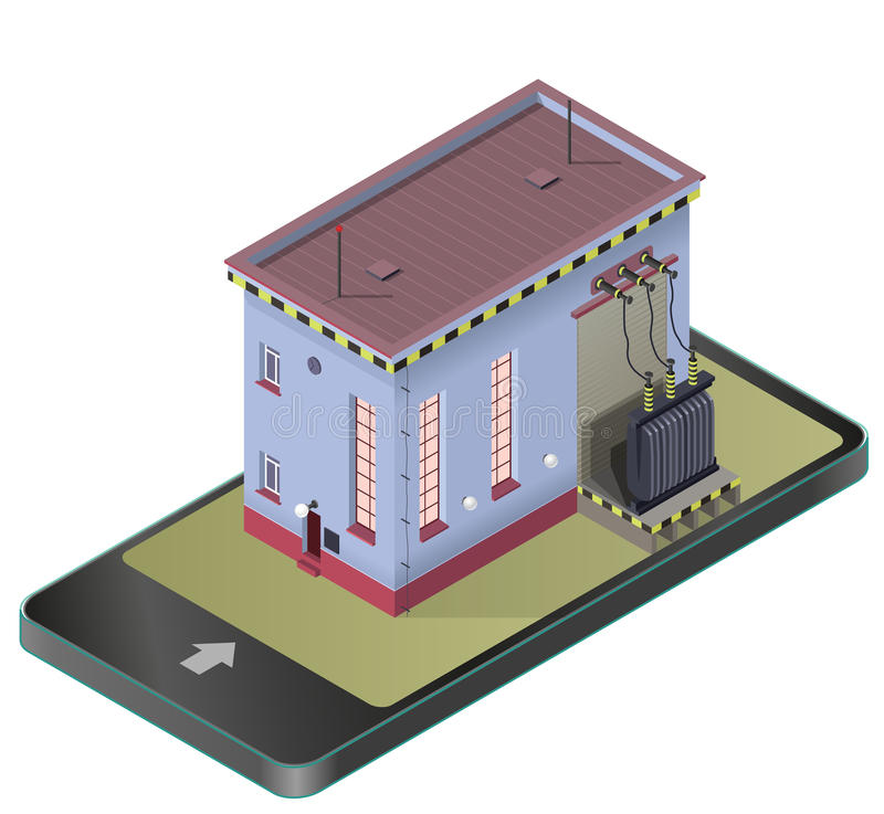 Electric transformer isometric building in mobile phone. Vector high-voltage power station in communication technology paraphrase. vector illustration