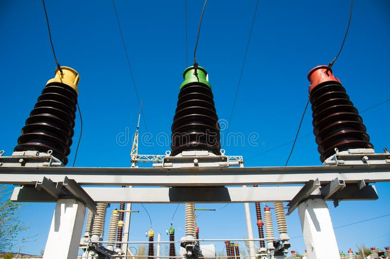 Electric transformer station stock images