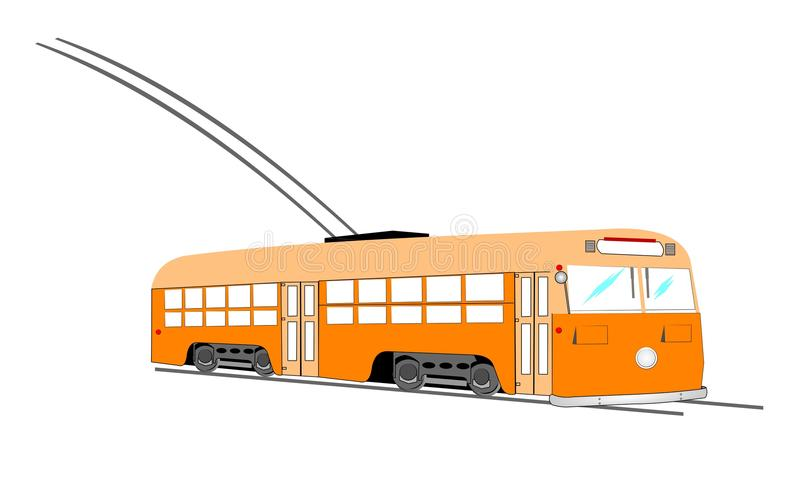 Electric trolley bus on tracks. Trolley bus from forties era that runs on rail tracks vector illustration