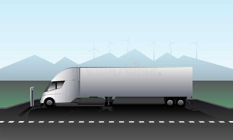 Electric truck with trailer is charged at the charging station on the highway. vector illustration