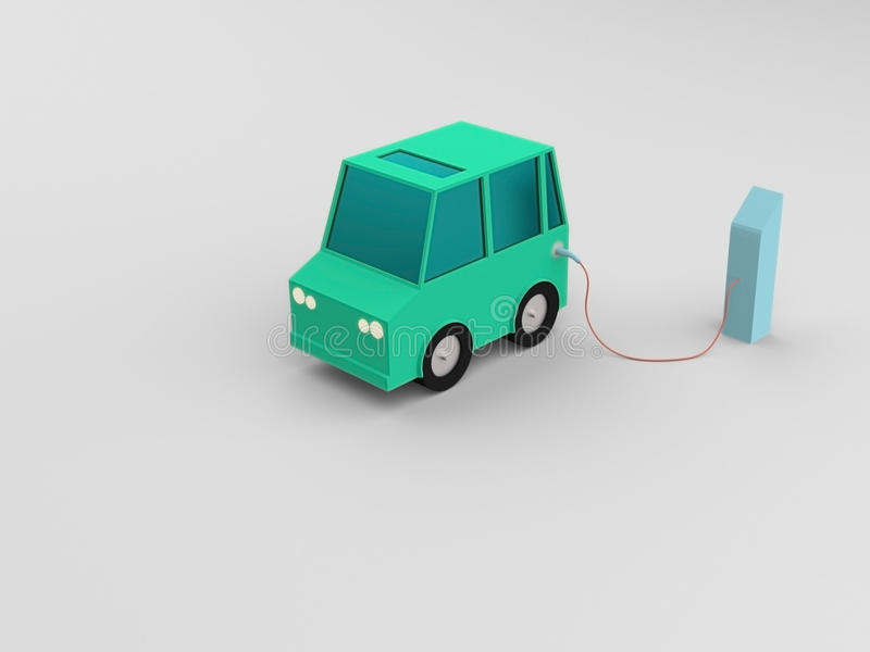 Electric vehicle at charge station in white background. royalty free stock photos