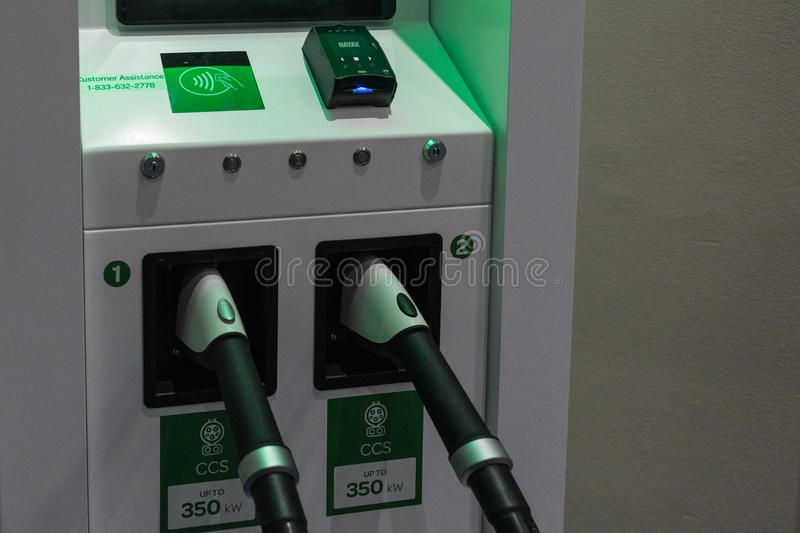 Electric vehicle charger station on display during Los Angeles Auto Show royalty free stock image