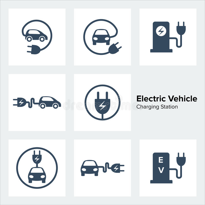 Electric Vehicle Charging Station Icons Set vector illustration