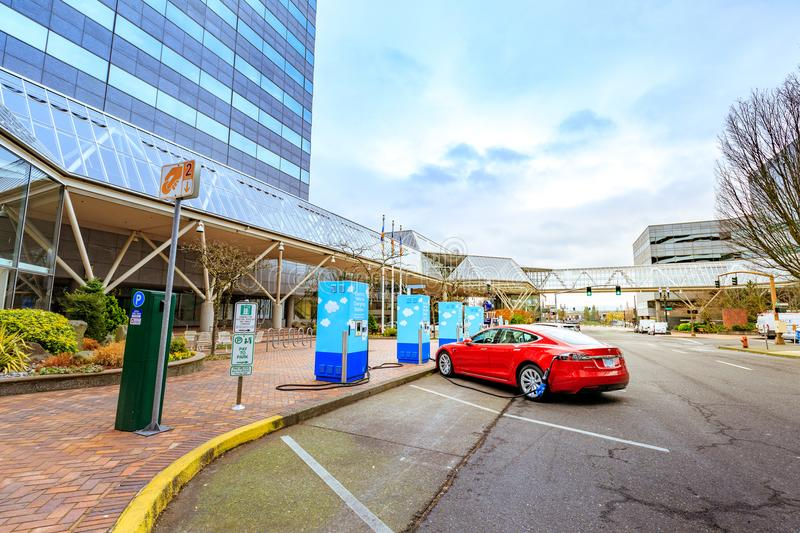 Electric vehicle charging station near World Trade Center in dow. Portland, United States - Dec 19, 2017 : Electric vehicle charging station near World Trade royalty free stock images