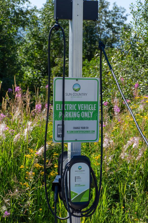 Electric vehicle only charging station sign for environmentally friendly vehicles with a green grass and flower background.  stock images