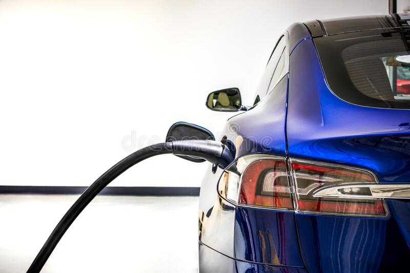 Electric Vehicle charging station system storing power on modern car. EV fuel for advanced hybrid car. automobile industry. royalty free stock images