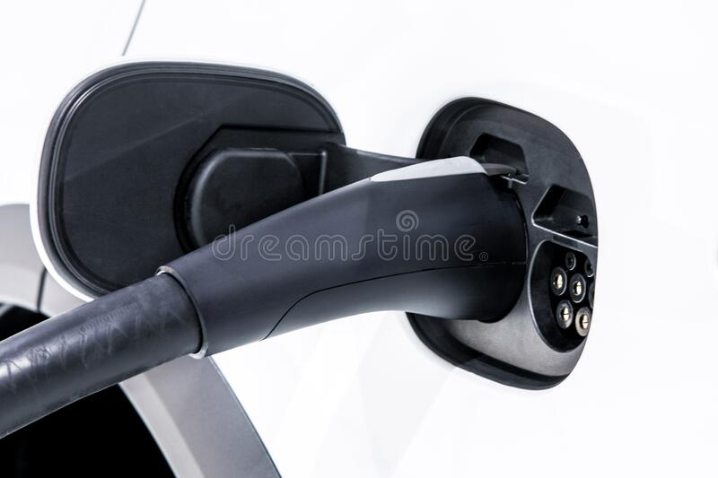 Electric Vehicle charging station system storing power on modern car. EV fuel for advanced hybrid car. automobile industry. royalty free stock image