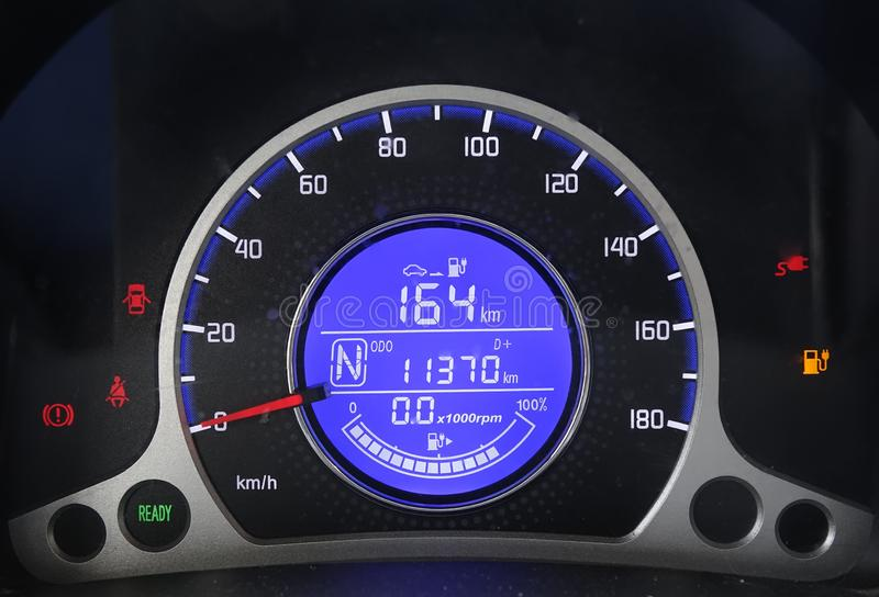 Electric vehicle dashboard charging royalty free stock photo