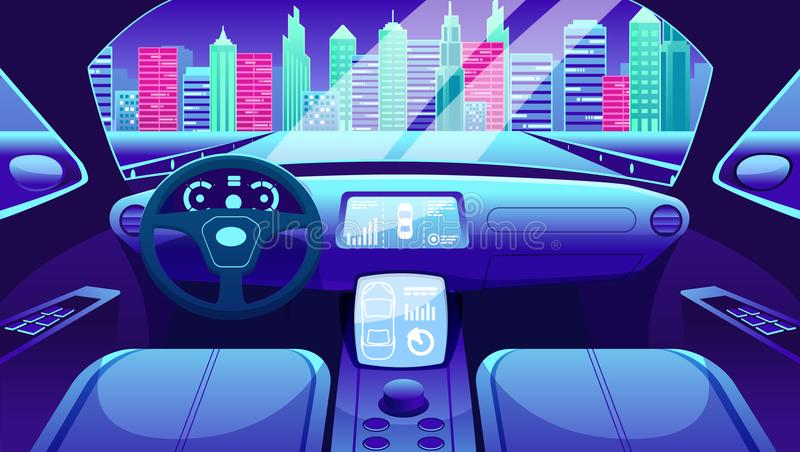 Electric vehicle dashboard of smart car. Virtual control of city traffic road Graphical User interface for electric car. stock illustration