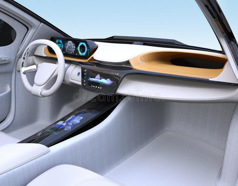 Electric Vehicle Interior Concept In Wireframe Stock Illustration ...