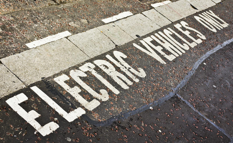 Electric Vehicle Parking Space. Parking Space only for electric vehicles stock images