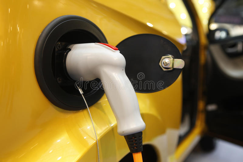 Electric vehicle system stock photo