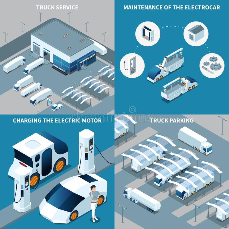 Electric Vehicles Isometric Design Concept royalty free illustration