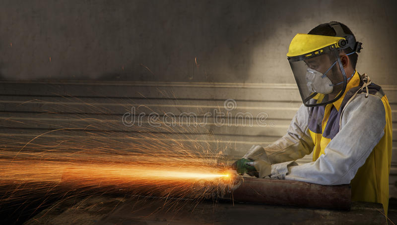 Electric wheel grinding stock image