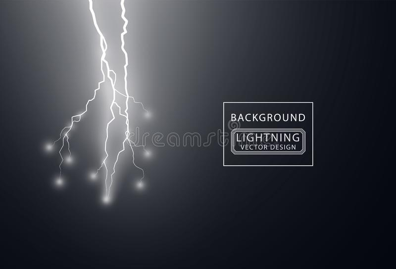Electric white lightning flash discharge with soft transparent glow effect. Vector design element isolated on dark background. Eps stock illustration
