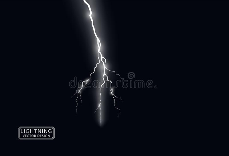 Electric white lightning flash discharge with soft transparent glow effect. Vector design element isolated on dark background. Eps vector illustration