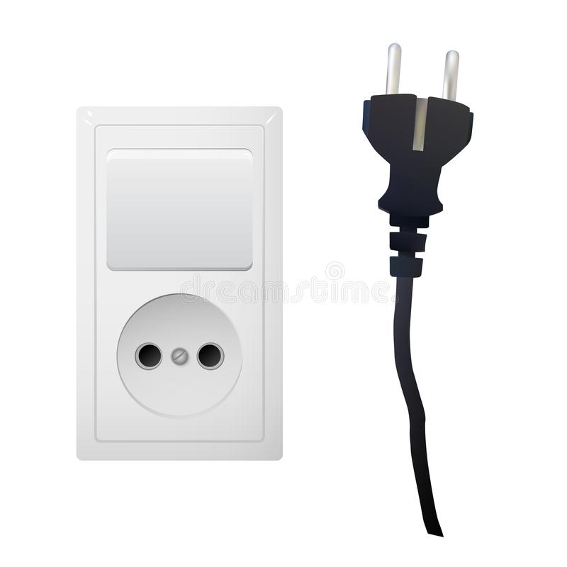 Electric White Socket With Plug And Switch. Stock Vector ...