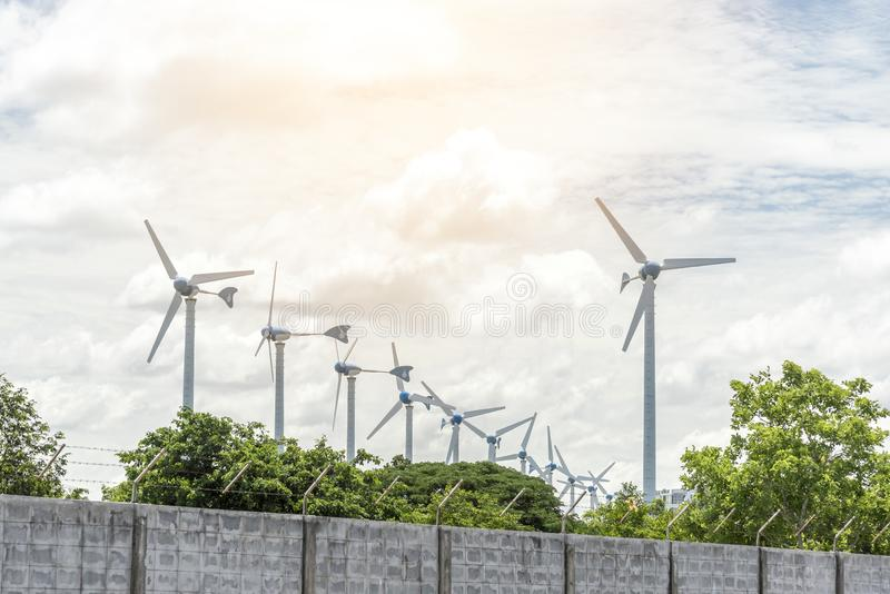 Electric wind mills for generating power fan, Technology and Nature concept. Alternative, blue, clean, development, ecology, efficiency, efficient, electricity royalty free stock image