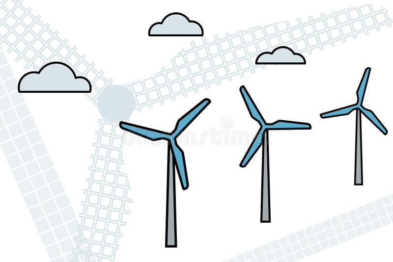 Electric Windfarm. Windfarm. Electric renewable energy. Vector illustration Modern industry vector illustration