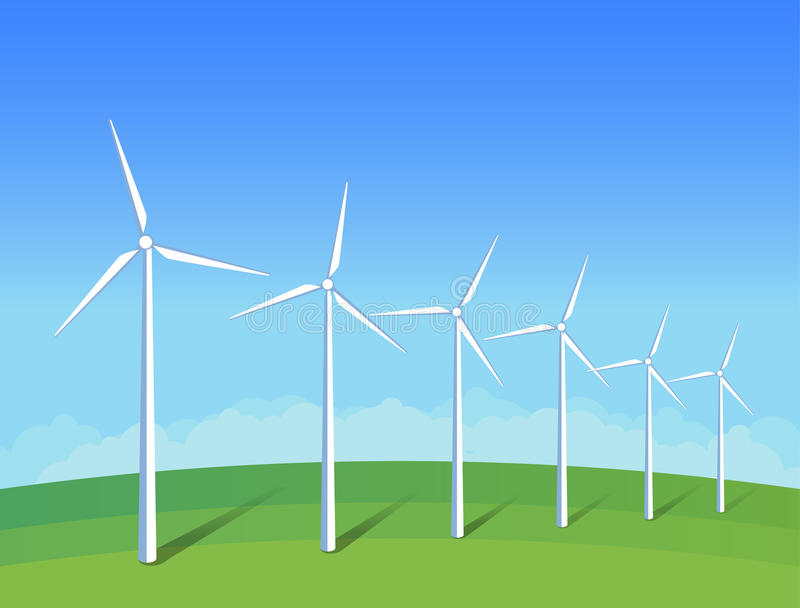 Electric windmills on green grass field on background blue sky. Ecology environmental illustration for presentations, websites, in royalty free illustration