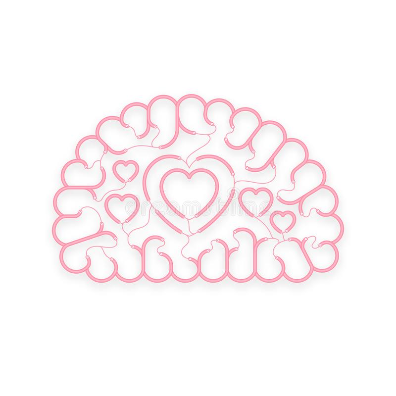 Electric Wire Cable Brain Pink Color, Love Concept Design With Heart ...