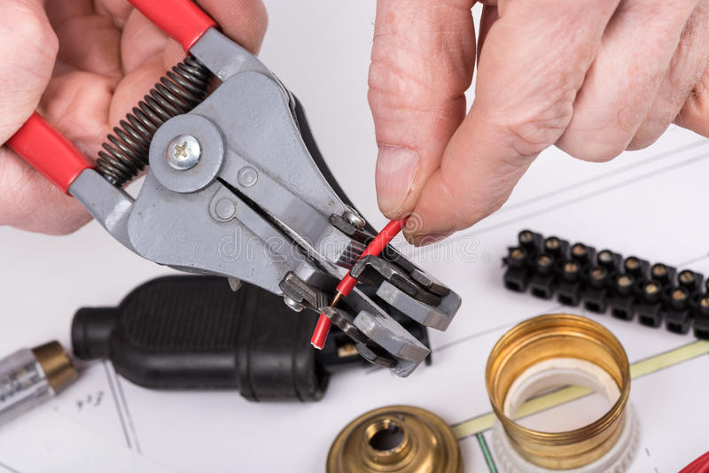 Electric wire stripping stock photos