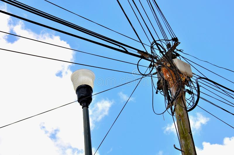Electric Wires On City Street Stock Image - Image of wiring, high ...