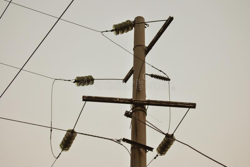 Electric wires stock photo