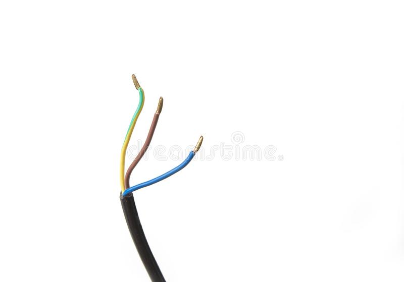 Electric wires insulated for connector on a white background. Electric wires insulated for connector on a white background royalty free stock image