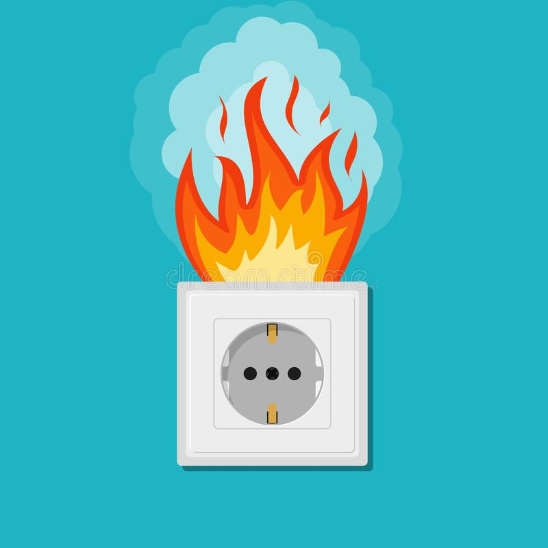 Electric wiring of socket in fire. Electrical safety concept. Plug outlet on fire. Electrical shock power. Short circuit in flat,. Cartoon style. Overload vector illustration
