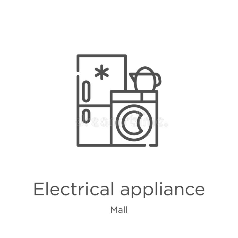 electrical appliance icon vector from mall collection. Thin line electrical appliance outline icon vector illustration. Outline, royalty free illustration