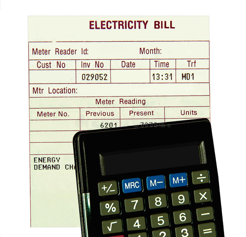 Electricity bill, calculator isolated. stock photos