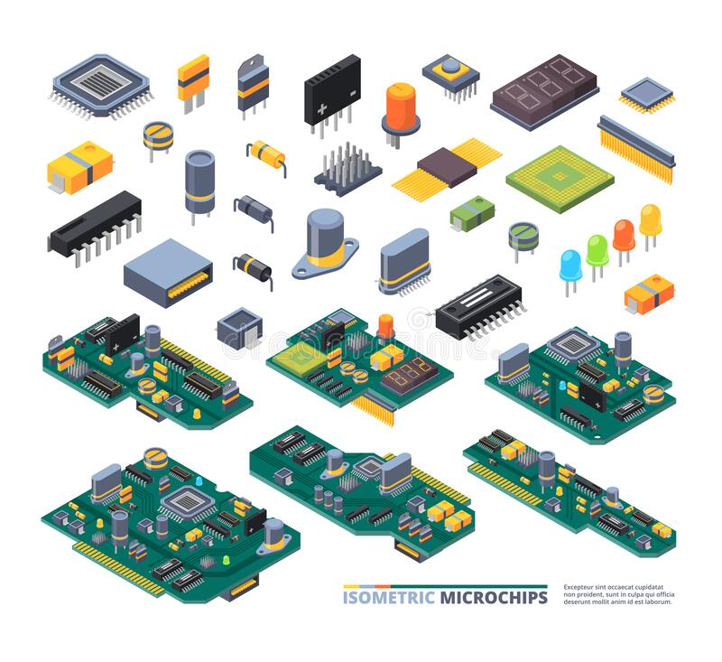 Free Electrical Boards Isometric. Hardware Items Computer Power Diodes Semiconductors And Small Chip Vector Equipment Set Stock Photo - 172877610